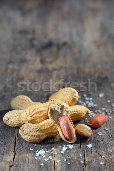 Séché cacahuètes bois alimentaire blanche Photo stock © mady70