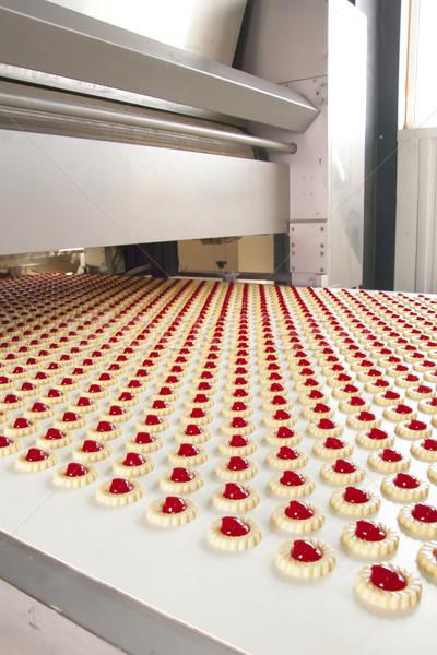 Foto stock: Produção · bolinhos · fábrica · grupo · pão · branco