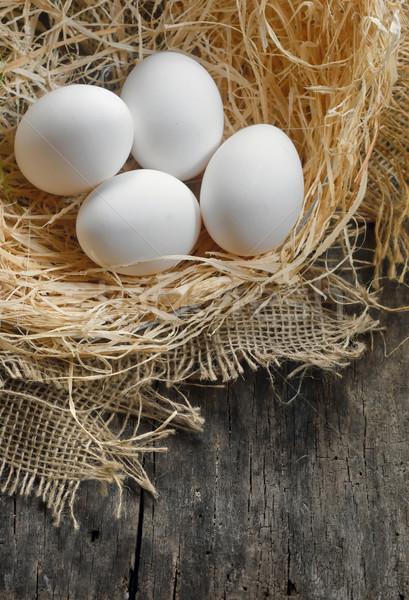 Huevos heno nido pollo granja madera Foto stock © mady70