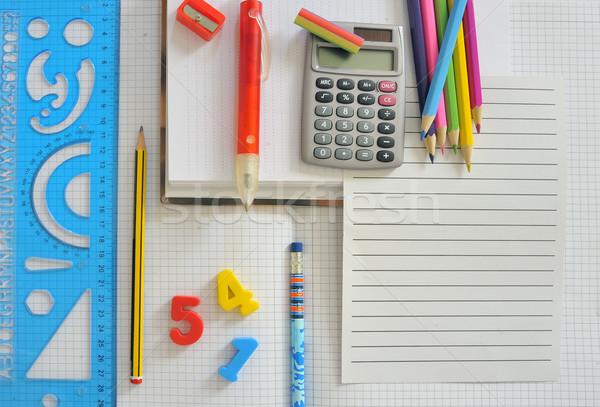 Fournitures scolaires papier vierge école bureau livre peinture Photo stock © mady70