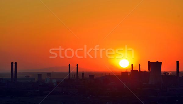 Romênia silhueta industrial fábrica pôr do sol tecnologia Foto stock © mady70