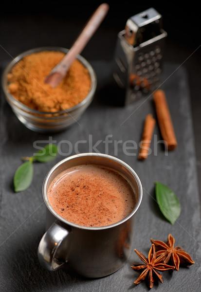 Кубок горячий шоколад корицей сахар Palm Сток-фото © mady70