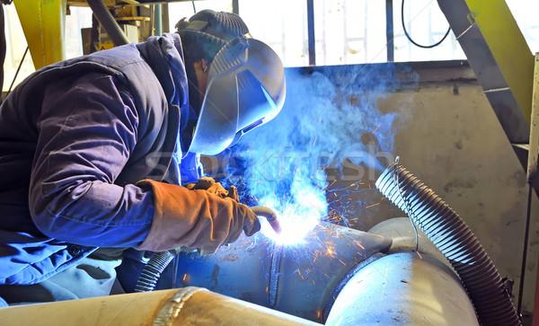 Hegesztő maszk hegesztés fém szikrák tűz Stock fotó © mady70