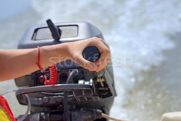 Rybaka strony łodzi silnika prędkości mężczyzn Zdjęcia stock © mady70