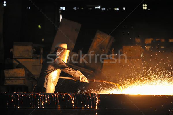 Trabajador antorcha corte metal fuego gafas Foto stock © mady70
