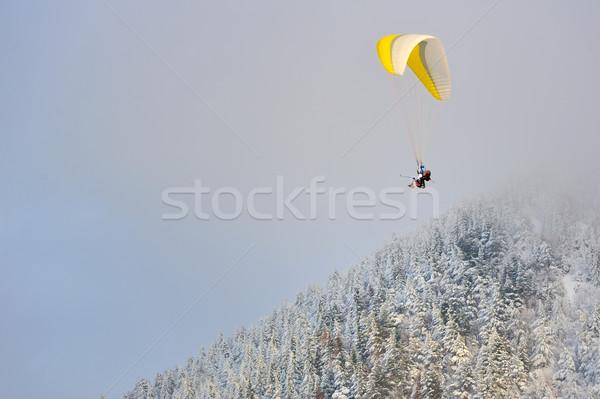 Siklórepülés tél hegyek erdő természet hegy Stock fotó © mady70