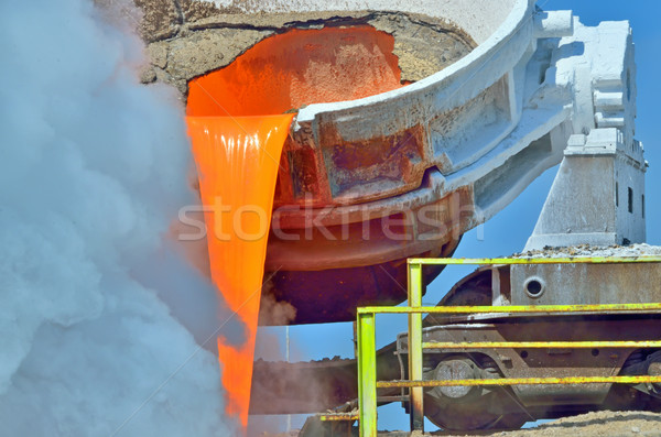 steel is poured into the slag dump Stock photo © mady70