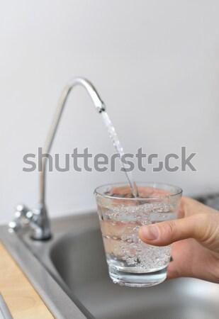 ガラス 水 タップ 手 背景 ストックフォト © mady70