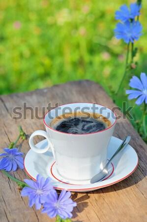 Warme drank bloem koffie Blauw drinken beker Stockfoto © mady70