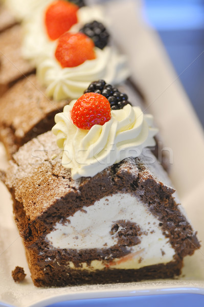 Fruitcake chocolade restaurant drinken aardbei Stockfoto © mady70