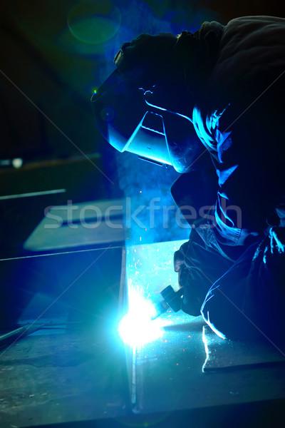 Soldador máscara soldagem metal faíscas fogo Foto stock © mady70
