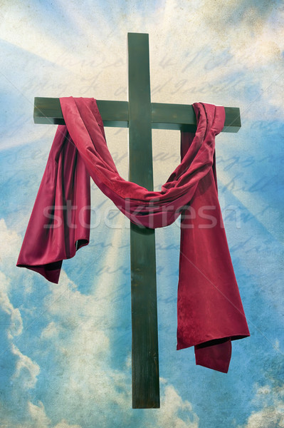 Large christian cross with sun rays Stock photo © mady70