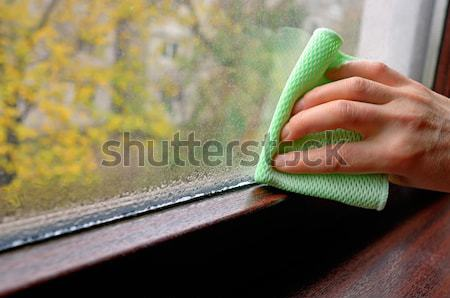 Woman cleaning water  condensation on window Stock photo © mady70