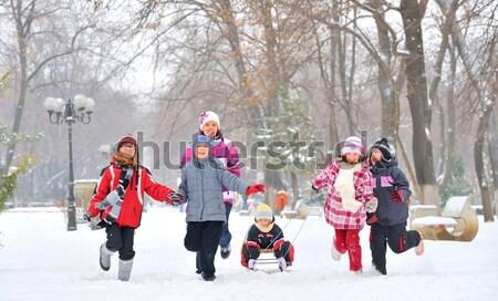 Feliz crianças risonho jogar parque inverno Foto stock © mady70