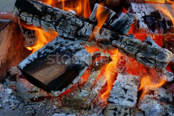 Brand vlammen voorjaar hout licht Rood Stockfoto © mady70