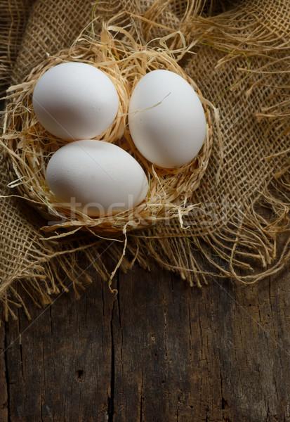 яйца сено гнезда куриные фермы старые Сток-фото © mady70