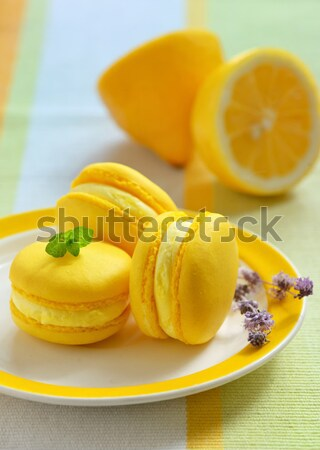 Colorful french macarons with lemon flavor Stock photo © mady70