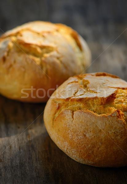 Tradicional caseiro pão mesa de madeira trigo branco Foto stock © mady70