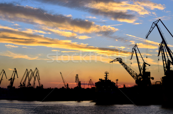 Porto vermelho pôr do sol verão negócio água Foto stock © mady70