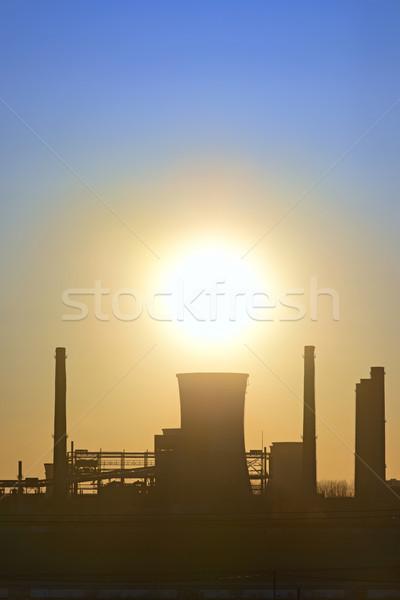 Silhueta industrial fábrica pôr do sol tecnologia metal Foto stock © mady70
