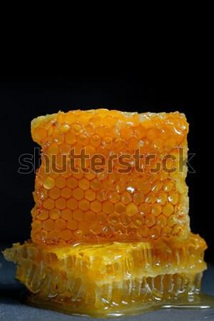 Favo de mel mel preto prato tabela beber Foto stock © mady70