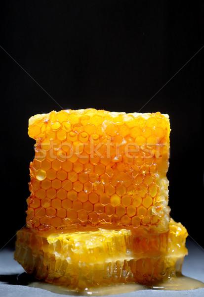 Honingraat zwarte plaat honing tabel drinken Stockfoto © mady70