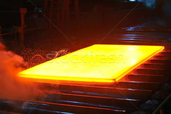 Foto stock: Quente · aço · fogo · metal · fumar · fábrica