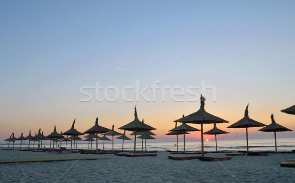 Siluetleri güneş gün batımı turuncu okyanus mavi Stok fotoğraf © mady70