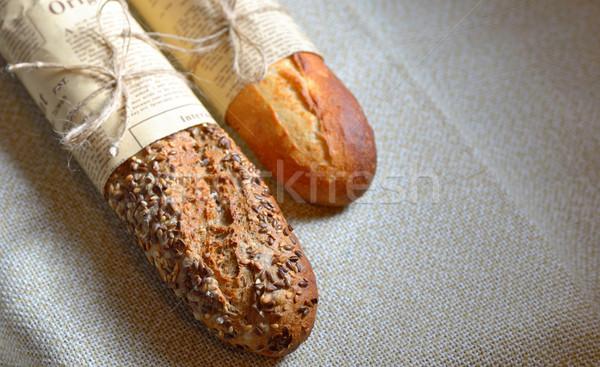 Baguette français paire mini journal isolé Photo stock © mady70