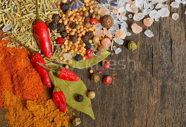 Ингредиенты приготовления специи старые деревянный стол продовольствие Сток-фото © mady70
