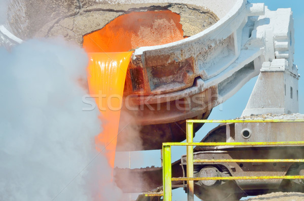 The molten slag is poured from a cup  Stock photo © mady70