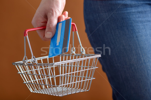 Shopping with shopping basket and credit card Stock photo © mady70