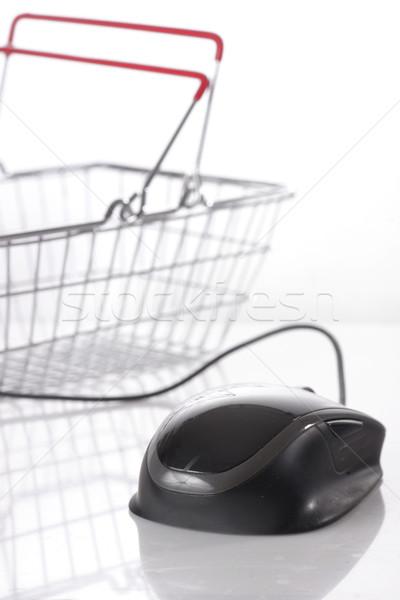 Számítógép egér bevásárlókosár fehér számítógép vásárlás hálózat Stock fotó © mady70