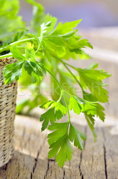 parsley in braided basket isolated Stock photo © mady70