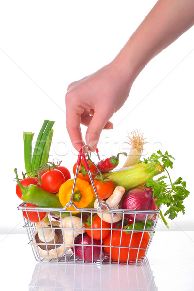 Stock photo: fresh vegetables in metal basket