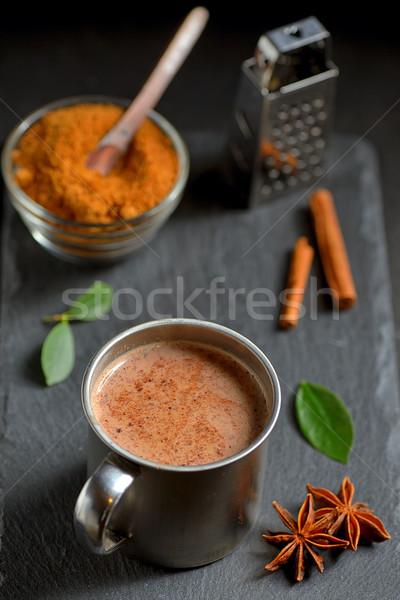 Cup of hot chocolate, cinnamon sticks Stock photo © mady70