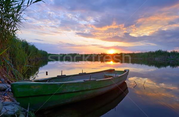 Halász csónak Duna delta naplemente égbolt Stock fotó © mady70