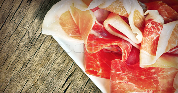 Prosciutto oud hout ham macro horizontaal Stockfoto © mady70