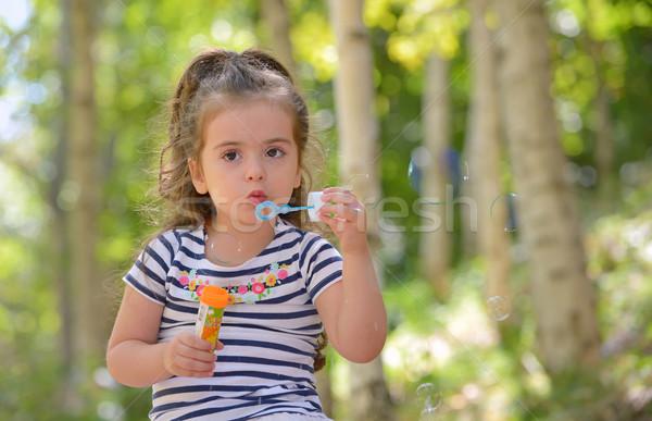 女の子 シャボン玉 肖像 少女 幸せ ストックフォト © mady70