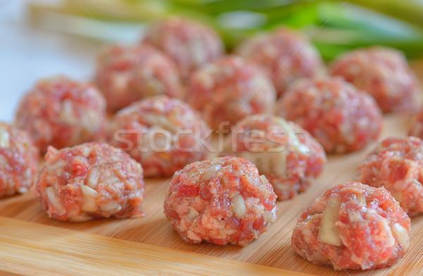 Raw Uncooked Meatballs Stock photo © mady70