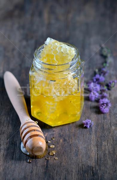 Honingraat honing glas hout tarwe goud Stockfoto © mady70