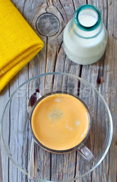 Csésze eszpresszó tej régi fa étel ital Stock fotó © mady70