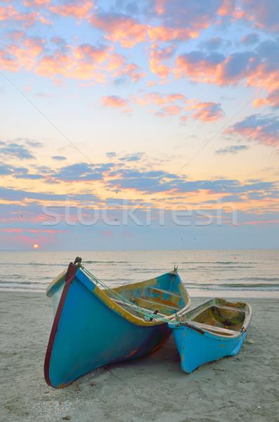 Azul pescador barcos nascer do sol madeira viajar Foto stock © mady70