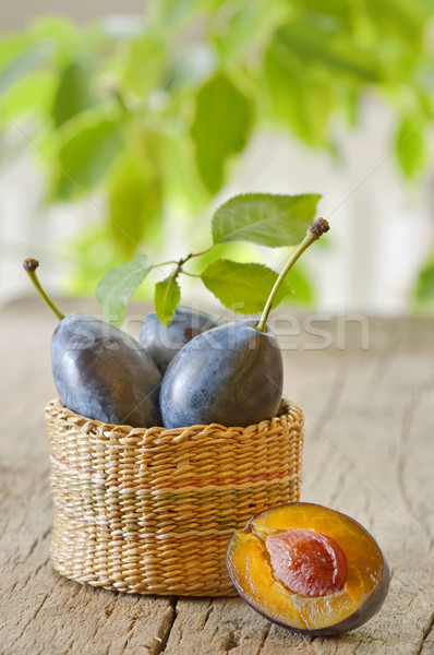 basket with plums Stock photo © mady70