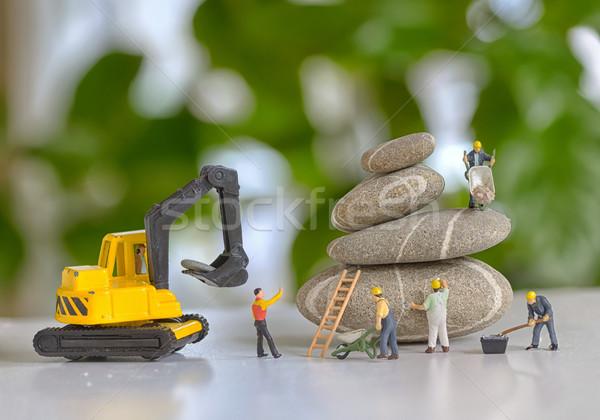 Kavicsok boglya építkezés munkások épület ipar Stock fotó © mady70