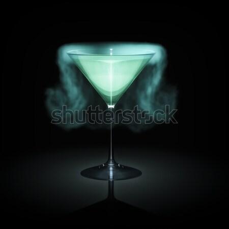 Kék dohányzás koktél üveg fekete absztrakt Stock fotó © magann