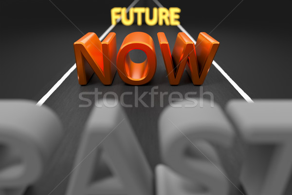 Pasado ahora futuro carretera imagen palabras Foto stock © magann