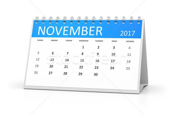 blue table calendar 2017 november Stock photo © magann