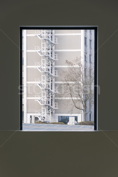 a stairway at a building outside the window Stock photo © magann