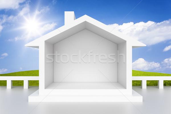 Casa blanca 3D cielo casa sol Foto stock © magann